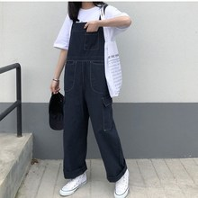 Korean Style Long Pocket Overalls Solid Vintage Blue Denim Jumpsuit Womens Straight Loose Jeans Rompers