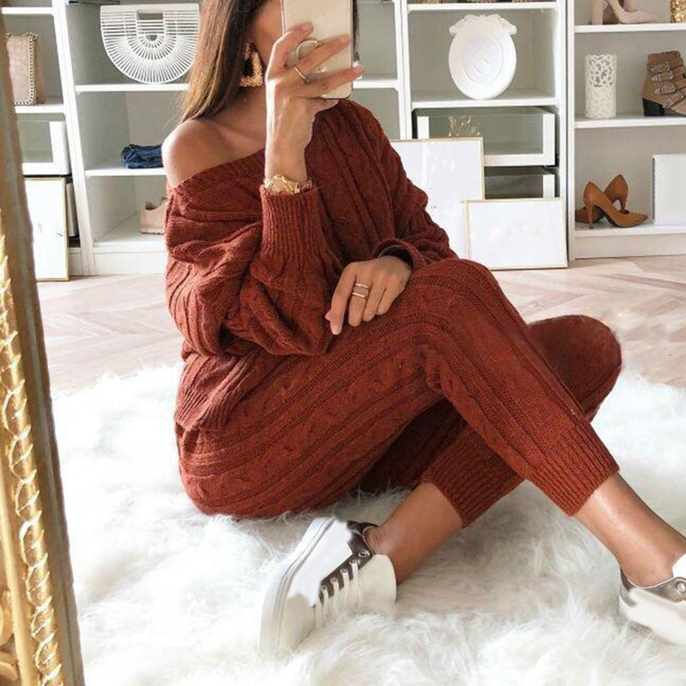 Knitted Two Piece Set Women Long Sleeve Top And Long Pants Sexy  Winter Sweater Two Piece Set Suitable For Sports Daily Wear