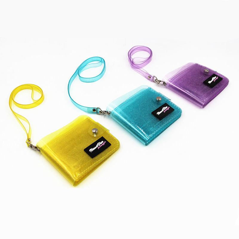 2019 New Transparent ID Card Holder PVC Folding Short Wallet Fashion Women Girl Business Cards Case Purse With Lanyard