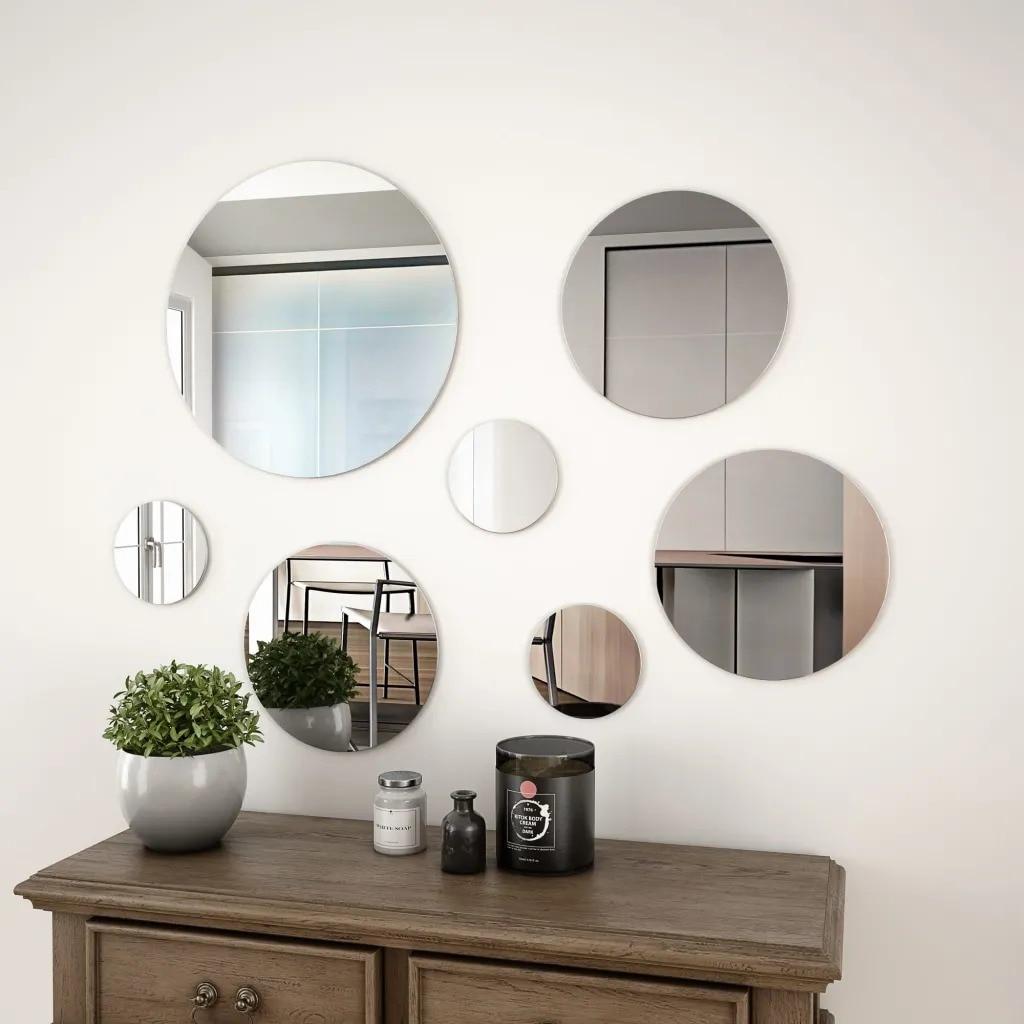 VidaXL 7 Piece Wall Mirror Set Round Glass 245692