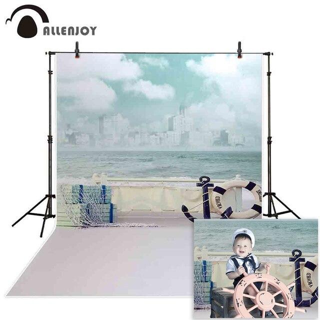 Allenjoy fundo fotográfico jinhae mar barco céu ondas backdrops princesa crianças vinil photocall 8x12ft