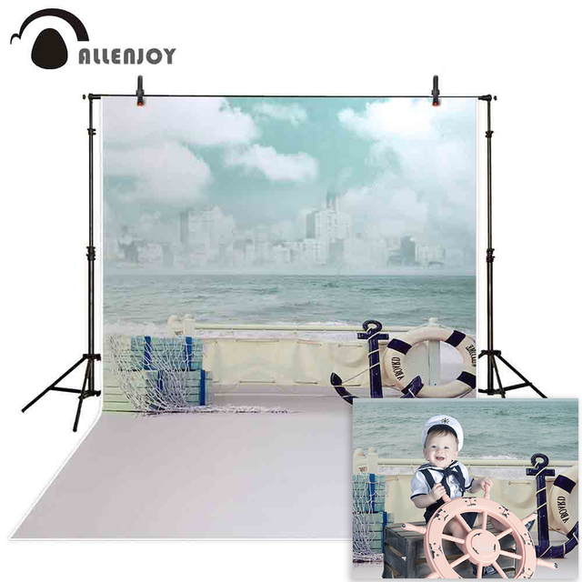 Allenjoy photographic background Jinhae sea boat sky waves backdrops princess kids vinyl photocall 8x12ft
