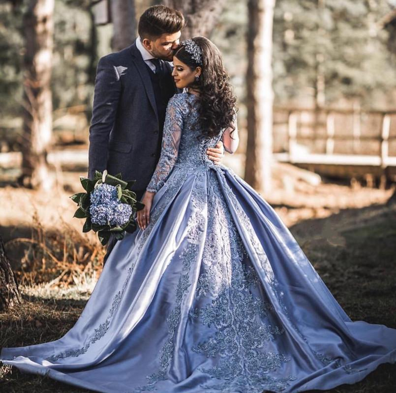 Vintage Muslim 2019 Blue Lace Prom Dresses With Fu