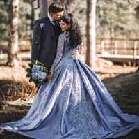 Vintage Muslim 2019 Blue Lace Prom Dresses With Full Sleeves Puffy Ball Gowns Saudi Arabic Prom Gowns Lace Up Vestido Formatura