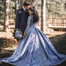 Vintage Muslim 2019 Blue Lace Prom Dresses With Full Sleeves