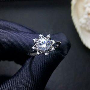 Image 3 - MeiBaPJ 1 Carat VVS1 Moissanite Diamond Flower Simple Ring for Women 925 Sterling Silver Fine Wedding Jewelry