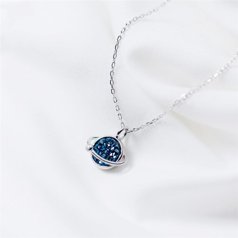Sole Memory Blue Planet Crystal Personality Sweet Romantic 925 Sterling Silver Clavicle Chain Female Necklace SNE418
