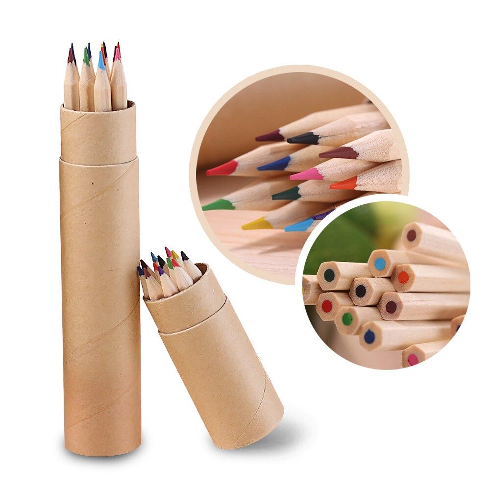 Lápiz pequeño de 12 colores para pintar, lápiz de plomo de Color, papelería de oficina, pintura de escritura para estudiantes, nuevo A30