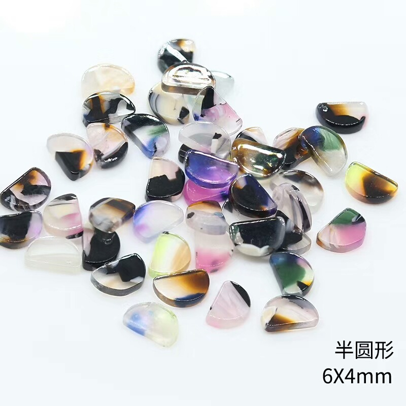 Colorful Japanese-style Nail Ornament Resin Diamond Riverstones Colorful Smudge Semicircle Rectangular Nail Sticker Circle New P