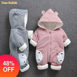 Image 1 - 2020 New Russia Baby costume rompers Clothes cold Winter Boy Girl Garment Thicken Warm Comfortable Pure Cotton coat jacket kids