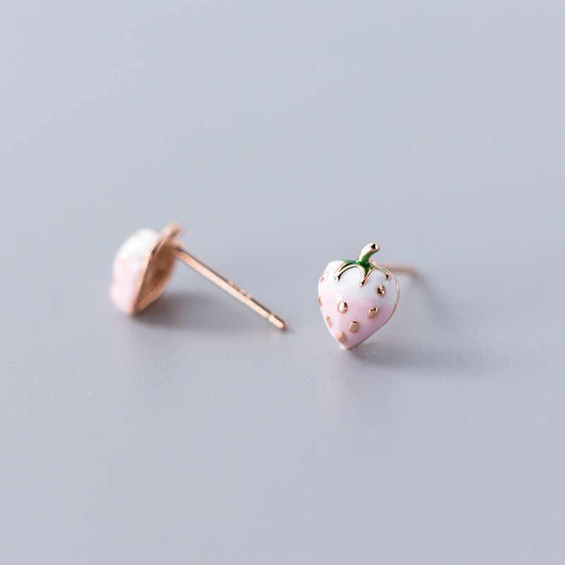 Trusta 2019 Minimalistischen 925 Sterling Silber Niedliche Kleine Frische Rosa Erdbeere Stud Ohrringe Für Frauen Hochzeit Schmuck Geschenk DS1911