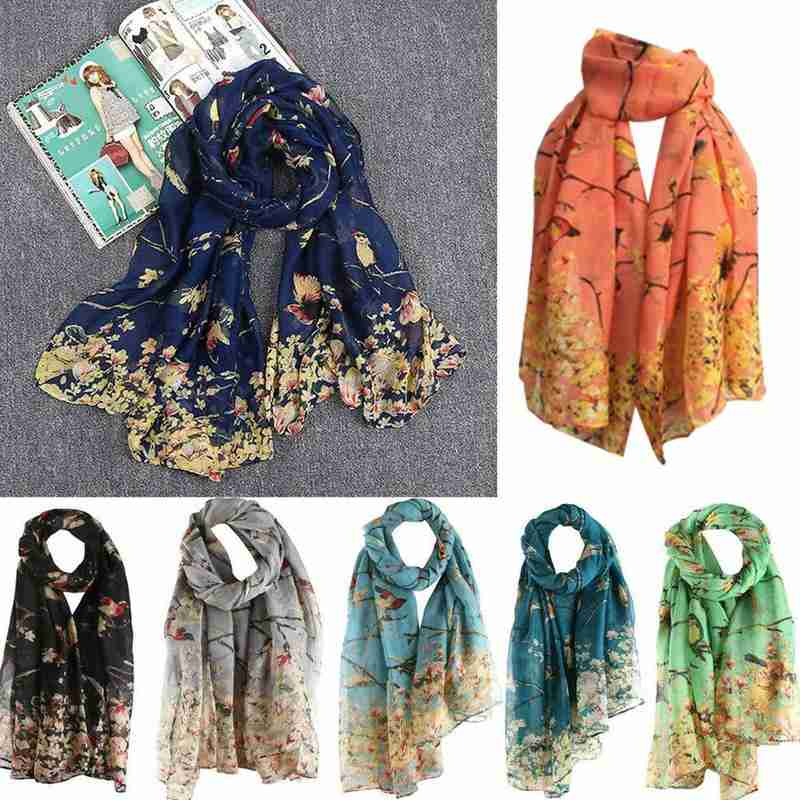 90*180cm Animal Twig Bird Print Scarf Cotton Linen Sun Shawl Lady Scarf Luxury Brand Wrap Shawls Szalik Dziecko Knitted Scarf