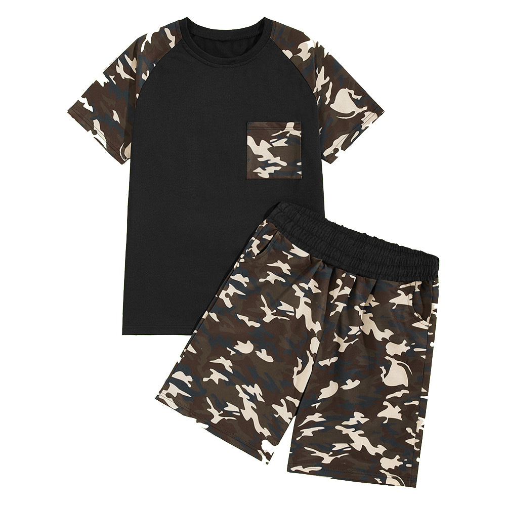 T-shirt Men's 2019 New Style Summer New Style Mixed Colors Camouflage Shorts Short Sleeve T-shirt Suit Men's Fashion Sports Casu