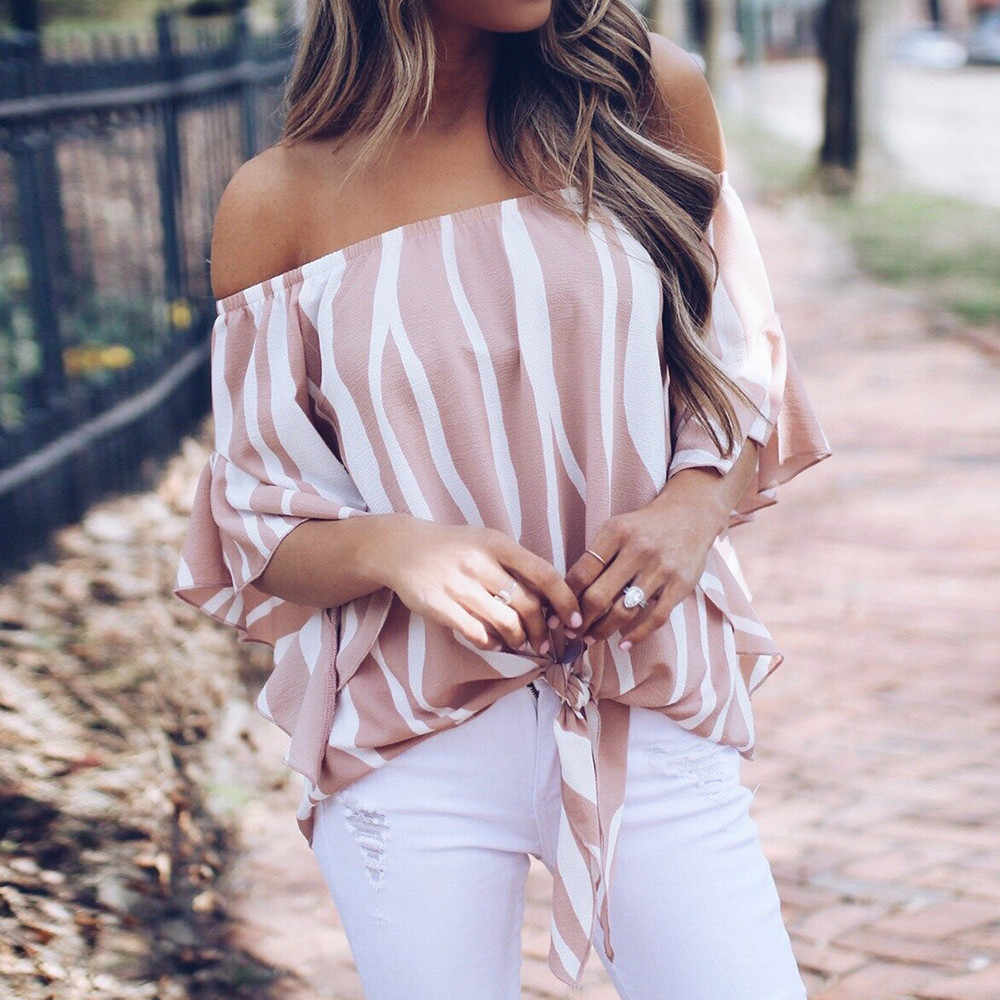 Vrouwen Gestreepte Off Shoulder Blouse Zomer Vrouwen Blouse Korte Mouw Casual Shirts Sexy Camisas Mujer Tops Trui Dames Kleding
