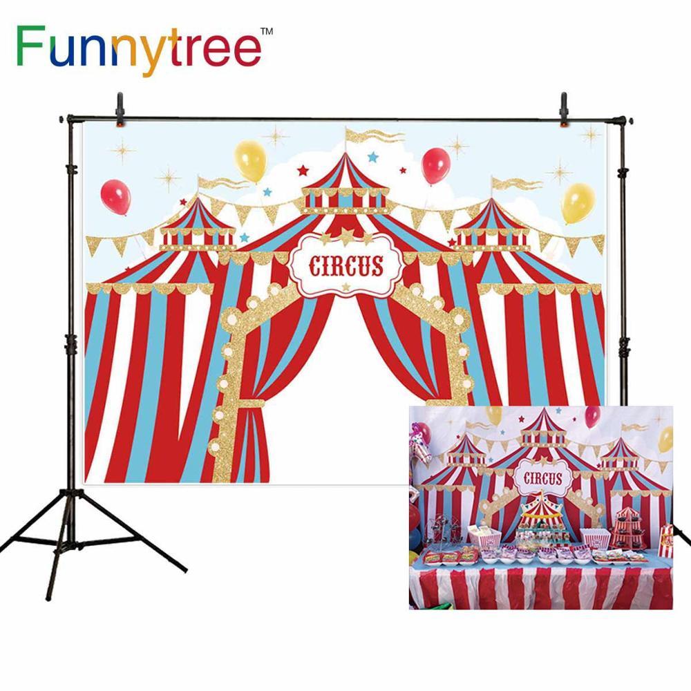 Funnytree photo backdrop studio cartoon circus birthday photozone party stripes tent balloons decor kids background photocall