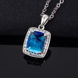 Image 5 - Австрийский Аквамариновый кулон Szjinao из камня, Модная бижутерия из настоящего стерлингового серебра 925 пробы, массивные ожерелья и подвески для женщин