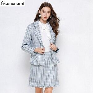 Image 2 - Ekose 2 parça Set kadın sonbahar mavi artı boyutu 5xl 4xl 3xl tam kollu cep püskül üstleri Mini etek iki parça kıyafetler eşofman