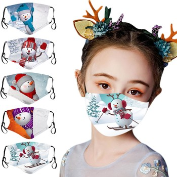 5PC Christmas Mask Children Cartoon Print face mask Reusable Washable can put filter Xmas Face Shield Protective mouth Mask maks image