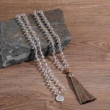 Oaiite Мала ожерелье 108 мала хрустальные бусины узлом ожерелья