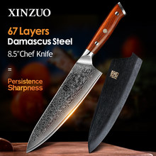 Xinzuo 8.5 Inch Chef Messen Hoge Carbon VG10 Japanse 67Layer Damascus Keukenmes Rvs Gyuto Mes Palissander Handvat(China)