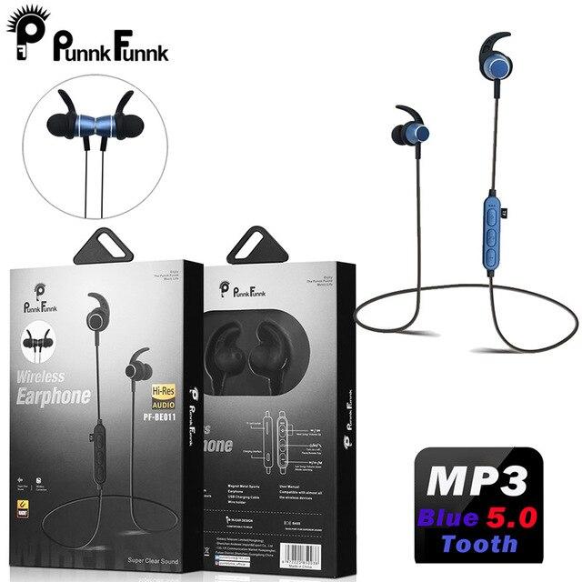 PunnkFunnk Bluetooth 5.0 kulaklık mıknatıs derin bas stereo spor kulaklıklar iphone 5 için 6 7 8 X XR XS MAX oppo samsung