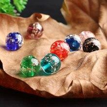Perles rondes multicolores en verre doré, 20 pièces, 8/10/12MM, pour la fabrication de colliers, bracelets, breloques, accessoires de bijouterie