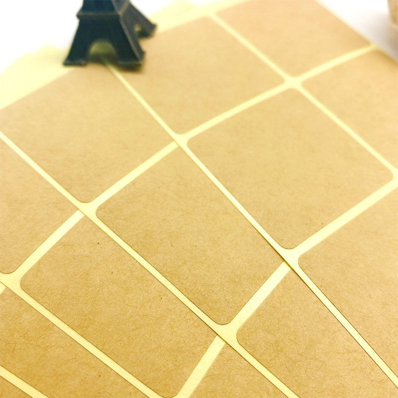 100PCS/Lot New  Square Design Kraft Blank Sealing Sticker For Handmade Products DIY Note Gift  Package Label