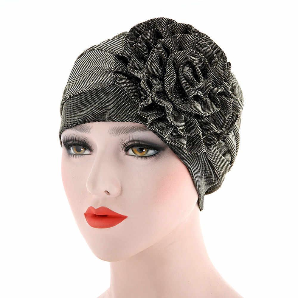Vintage Floral Muslim Ruffle Kanker Topi Wanita Topi Beanie Mutiara Syal Musim Dingin Serban Kepala Membungkus Cap Wanita India Topi Sombrero Mujer