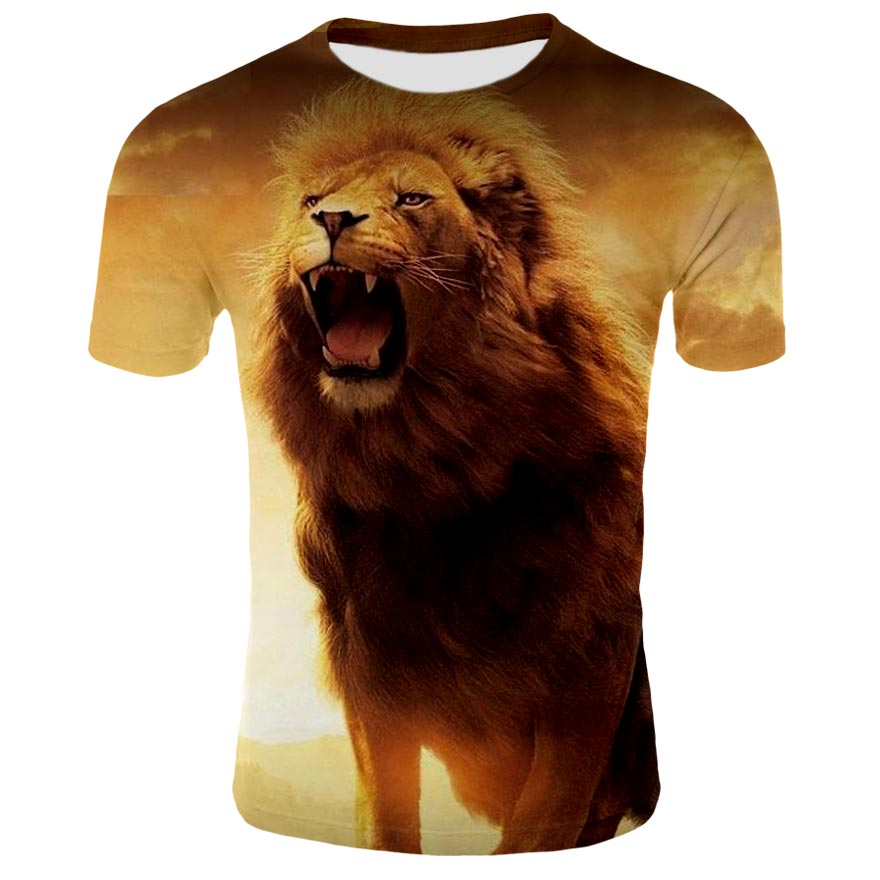2019 Lion Series Men's 3D Print Round Neck Short Sleeve Cartoon Anime Funny T-Shirt, High Quality Fashion T-Shirt
