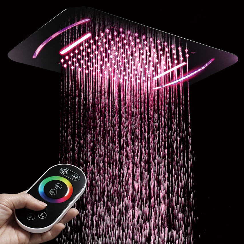 Luxury LED Light Shower Head Bathroom Shower Rainfall Waterfall Embedded Ceiling Mounted Showers 580*380mm Showerhead SUS304