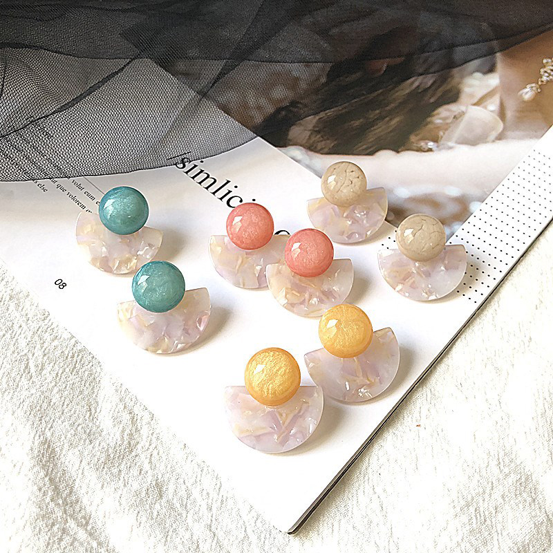 YAOLOGE Multicolor Cute Sweet Candy Color Resin Earrings Jewelry For Women Girl Round Fan Shape Autumn Winter Ear Accessories