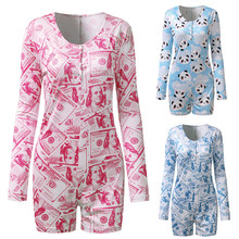 Women Printed Playsuit Leotard Sexy V-Neck Long Sleeve Bodycon Bodysuit Button Up Sleepwear Jumpsuit Shorts Rompers Blue Pink XL(China)