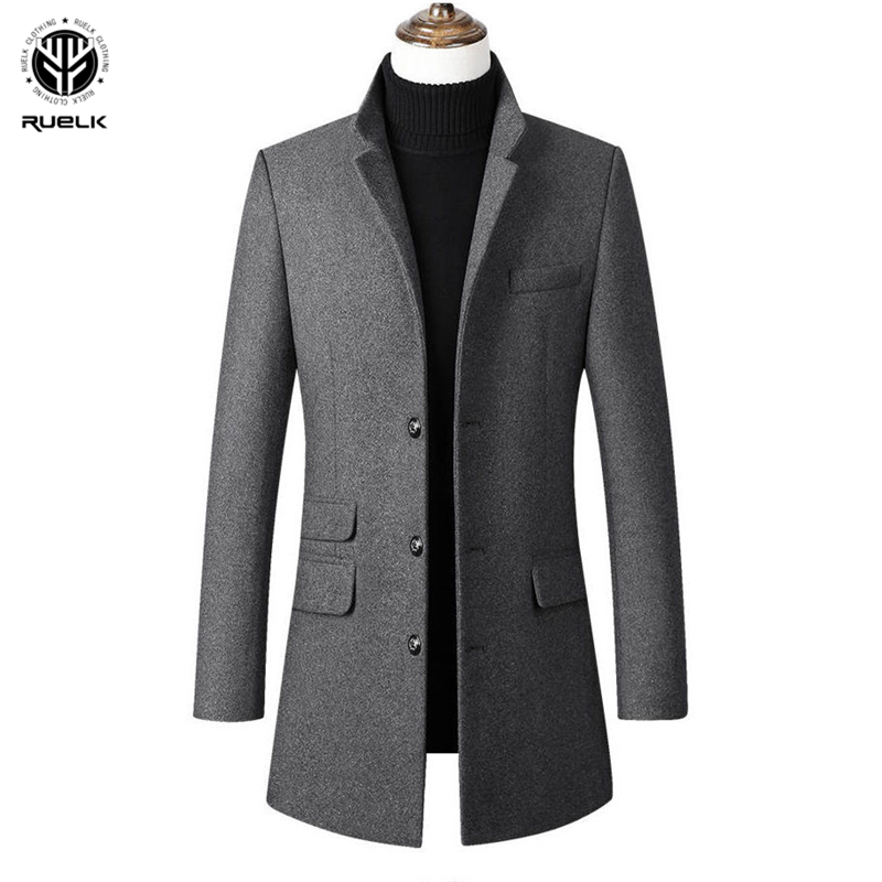 RUELK 2020 Autumn And Winter Woolen Coat Men's Mid-Length Thickened Slim Lapel Casual Coat Cashmere Men's Jacket Men Clothing