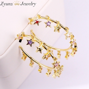 Image 5 - 3 paires, couleur or/argent mignon cz étoile boucle doreille avec arc en ciel brillant cz étoile pour les femmes de luxe charme fête bijoux