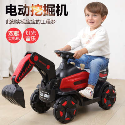 Children's Sliding Excavator Can Ride Full Electric Digging Excavator Boy Toy Hook Machine Engineering Vehicle
