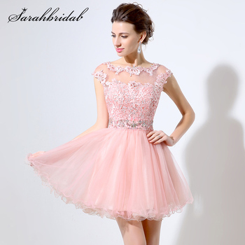 Sexy Homecoming Dresses Sheer Pink Short A line Crystal Lace Appliques Sleeveless Prom Party Gown Rode De Soiree Vestidos LSX011 - discount item  35% OFF Special Occasion Dresses