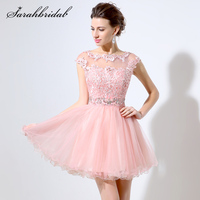 Sexy Homecoming Dresses Sheer Pink Short A line Crystal Lace Appliques Sleeveless Prom Party Gown Rode De Soiree Vestidos LSX011