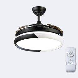 Fanem światła wentylator sufitowy odwracalne dom inteligentny lampa do salonu z pilotem zdalnego sterowania niewidoczne konwersji częstotliwości Led żyrandol