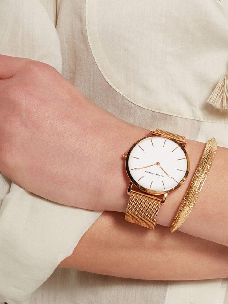 Women Watch Bracelet Mesh Quartz-Movement Rose-Gold Stainless-Steel 1set Waterproof Japan
