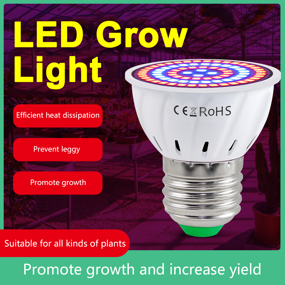 Светодиодный Grow светильник полный спектр 2835 Светодиодный чипы роста растений лампы 85-265V E27/E14/B22/GU10/MR16 Phytolamp для растений в помещении