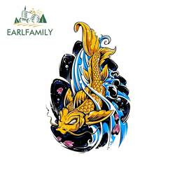 EARLFAMILY 13cm x 8.5cm for Japanese Fish Tattoo Graphics Anime Occlusion Scratch Trunk RV Car Stickers Surfboard Cartoon Decal