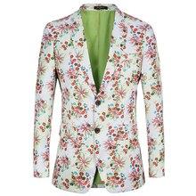 PAULKONTE Flower Print Slim Fit Men Suit Jacekts Leisure Suits Blazers Printing Blazer Stage Costumes For Singers
