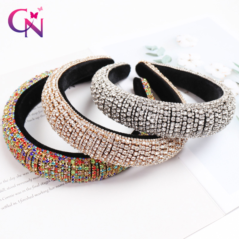 CN Baroque Full Crystal Hair Bands For Women Lady Luxury Shiny Padded Diamond Headband Hair Hoop Fashion Hair Accessories