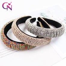 CN – serre-tête Baroque en cristal pour femmes, bandeau de luxe en diamant rembourré, cerceau de cheveux, cadeau de noël, accessoires de cheveux à la mode