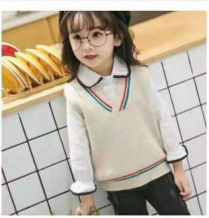 Kids' Sweater 2019 Childrenswear GIRL'S Vest Spring Korean-style Sleeveless Children Baby Sweater