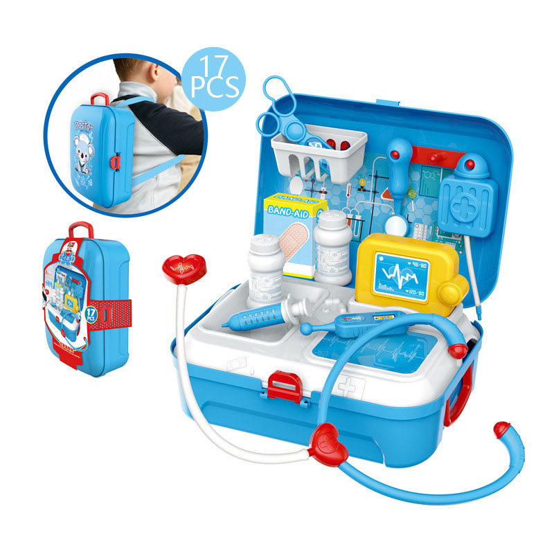 New Version 17pcs Simulation Doctor Pretend Toys Backpack Role Playing First Aid Sets Early Education Training for Kids Gift image