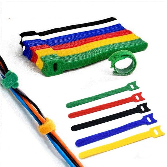 50 шт многоразовые цветные кабельные стяжки нейлоновые т образные фотография