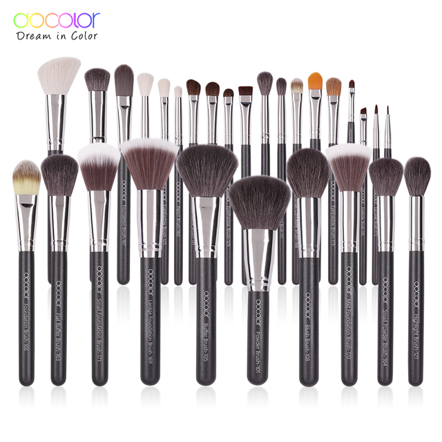 Docolor Black Makeup brushes set 10-29pcs Professional Natural hair brushes Foundation Powder Contour Eyeshadow make up brushes 1