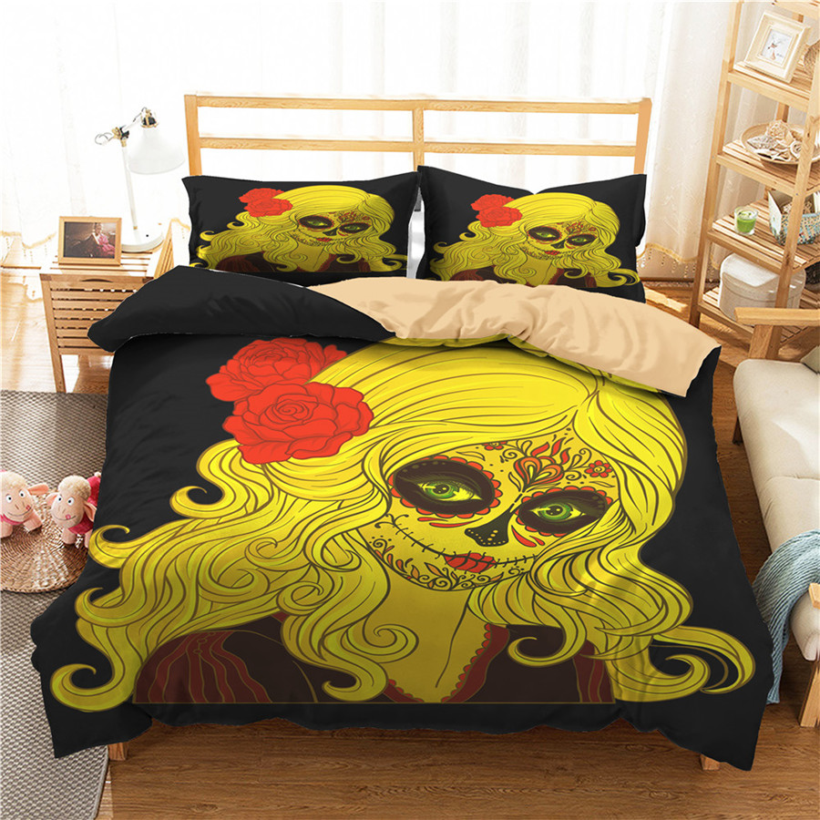 A Bedding Set 3D Printed Duvet Cover Bed Set Horror Skull Home Textiles For Adults Bedclothes With Pillowcase #KL52