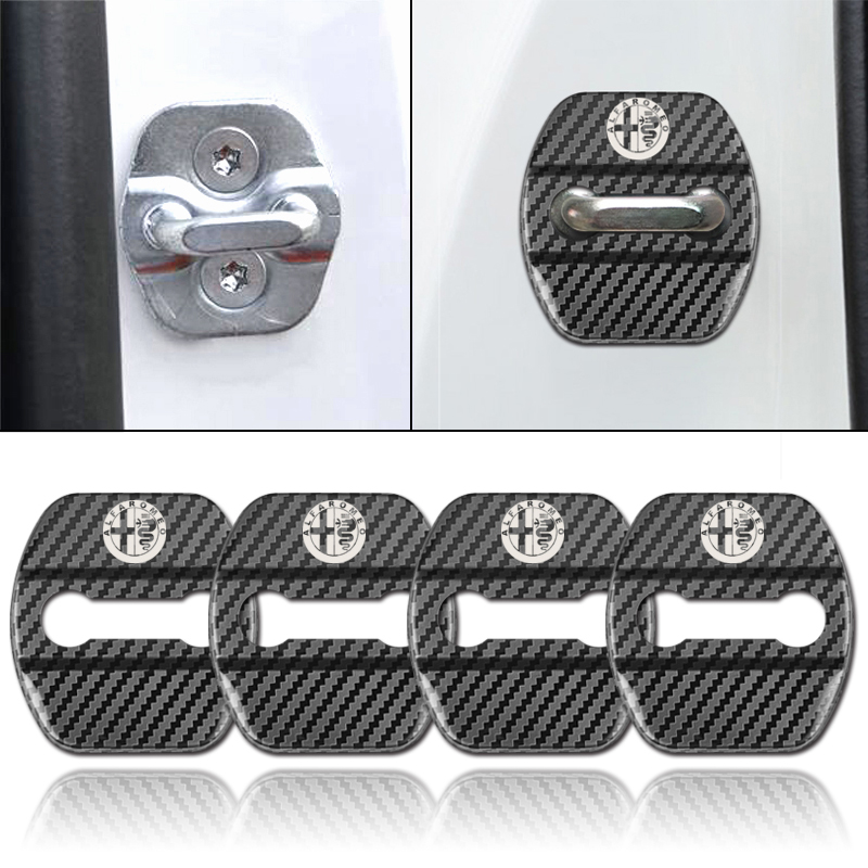 4pcs Auto Decoration Carbon Fiber Pattern Door Lock Cover Case For Alfa Romeo Giulietta 159 Stelvio 147 Sticker Emblems